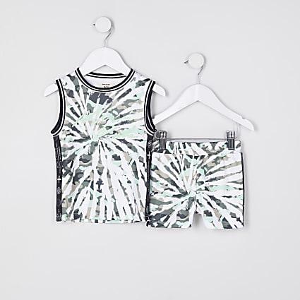 Mini boys grey mesh tie dye vest and shorts