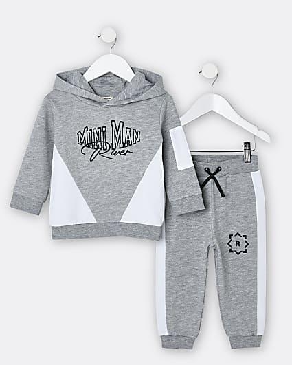Mini boys grey 'Mini Man' hoodie and joggers