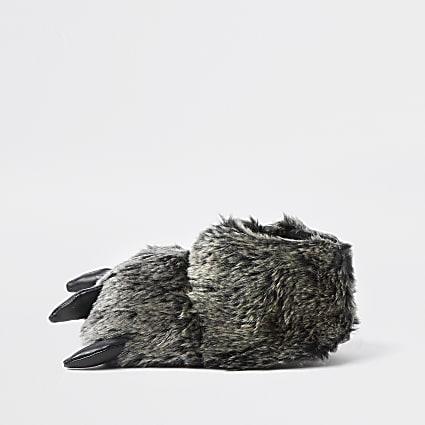 Mini boys grey monster feet slippers