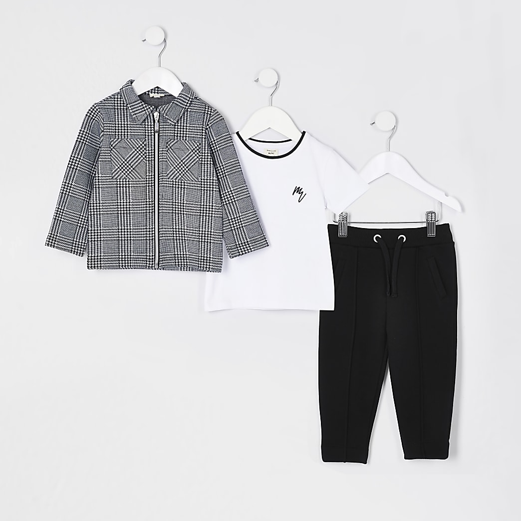 Mini boys grey overshirt 3 piece outfit