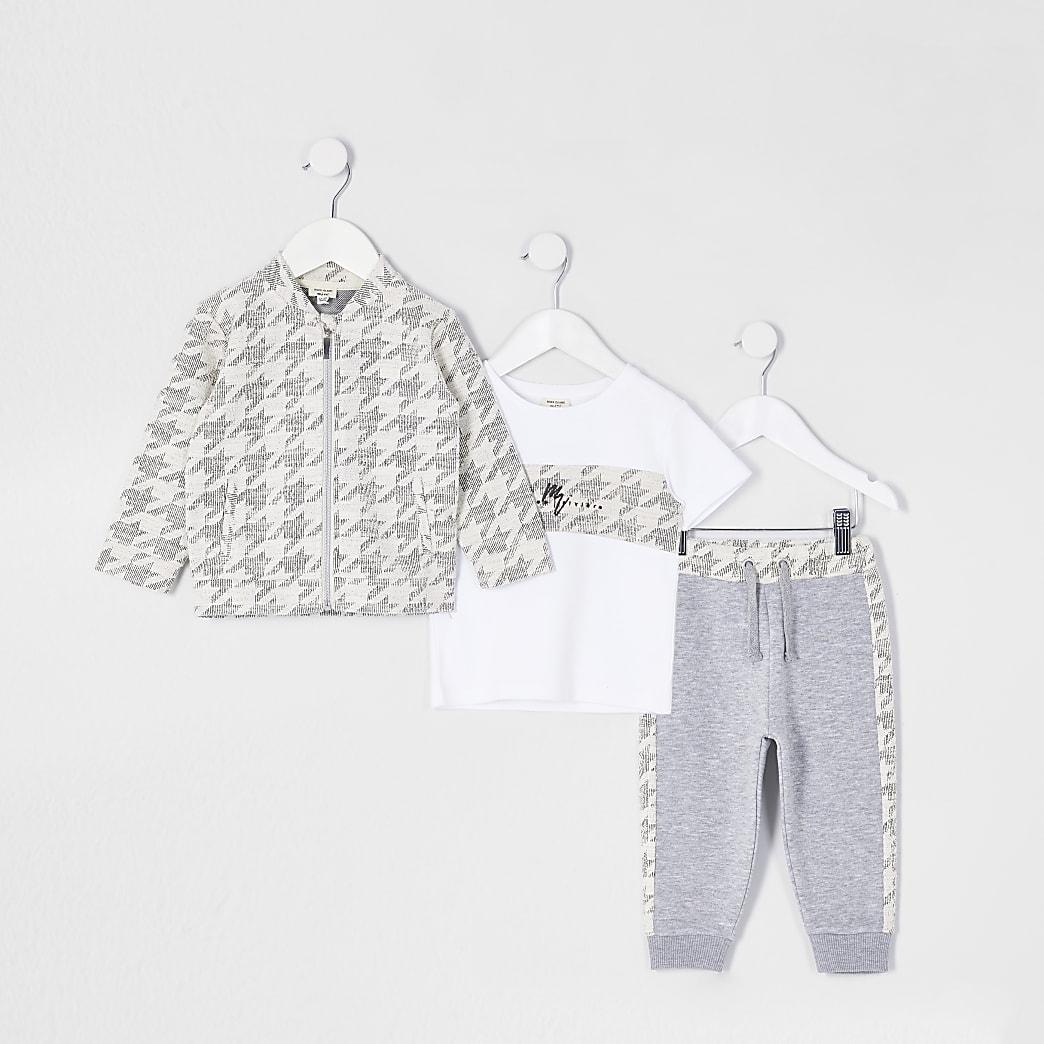 Mini boys grey overshirt 3 piece outfit