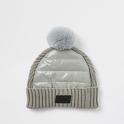 Mini boys grey padded panel beanie hat