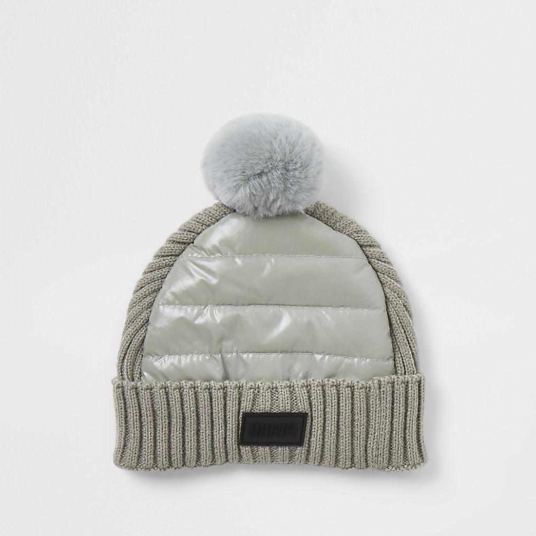 Mini boys grey padded panel beanie hat