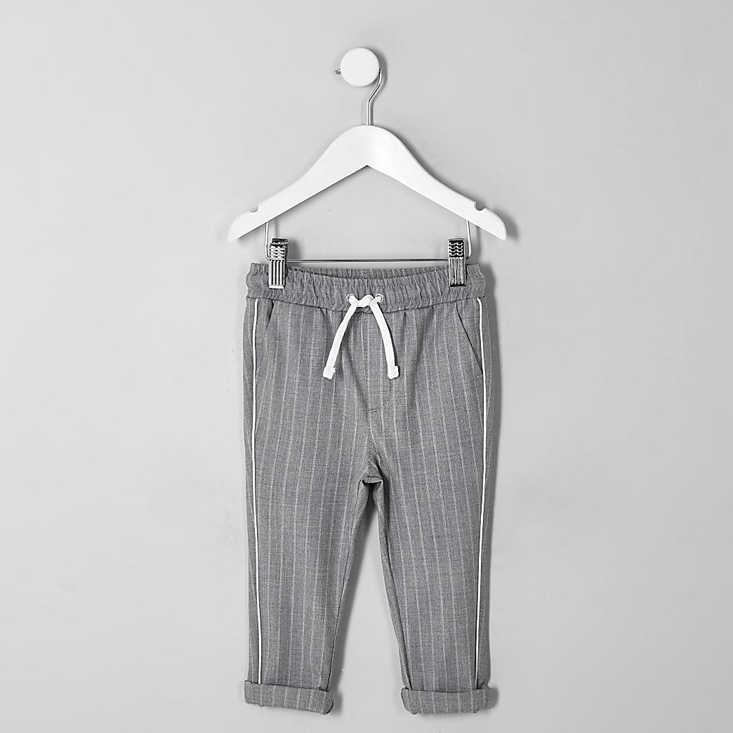 Mini boys grey pinstripe trousers