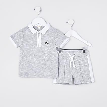 Mini boys grey polo outfit