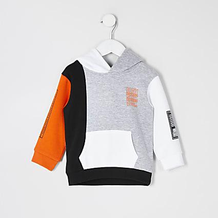 Mini boys grey printed colour blocked hoodie