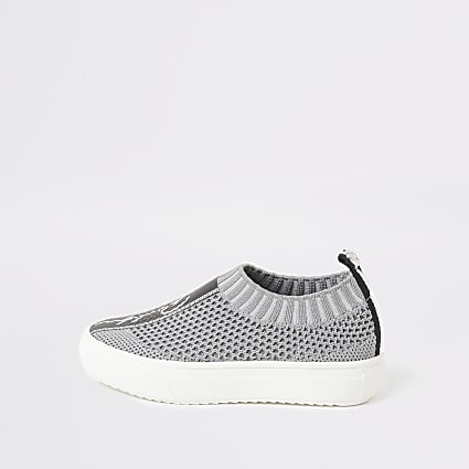 Mini boys grey Prolific knit trainers