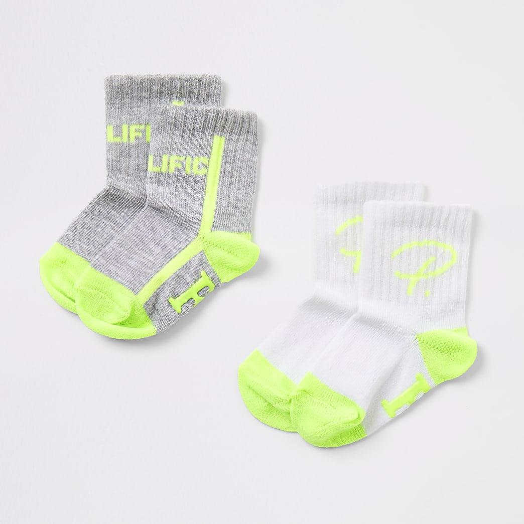 Mini boys grey Prolific socks 2 pack