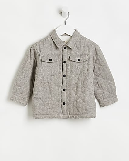 Mini boys grey quilted shacket