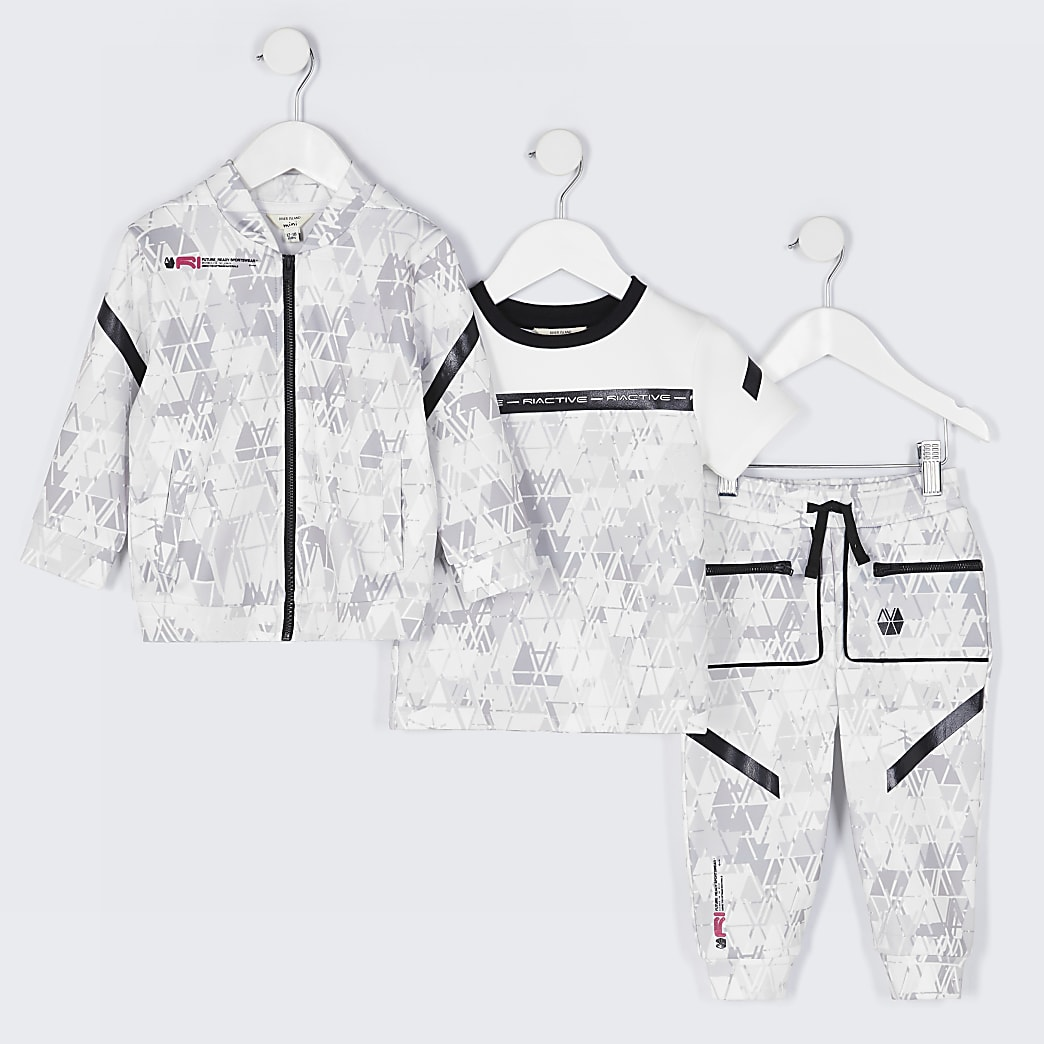 Mini boys grey RI Active 3 piece outfit