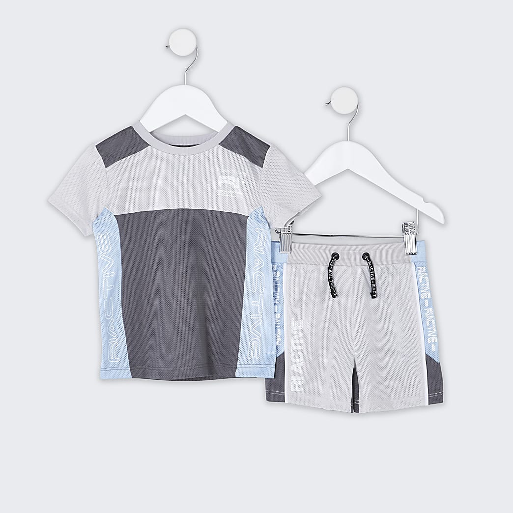 Mini boys grey RI Active mesh block outfit