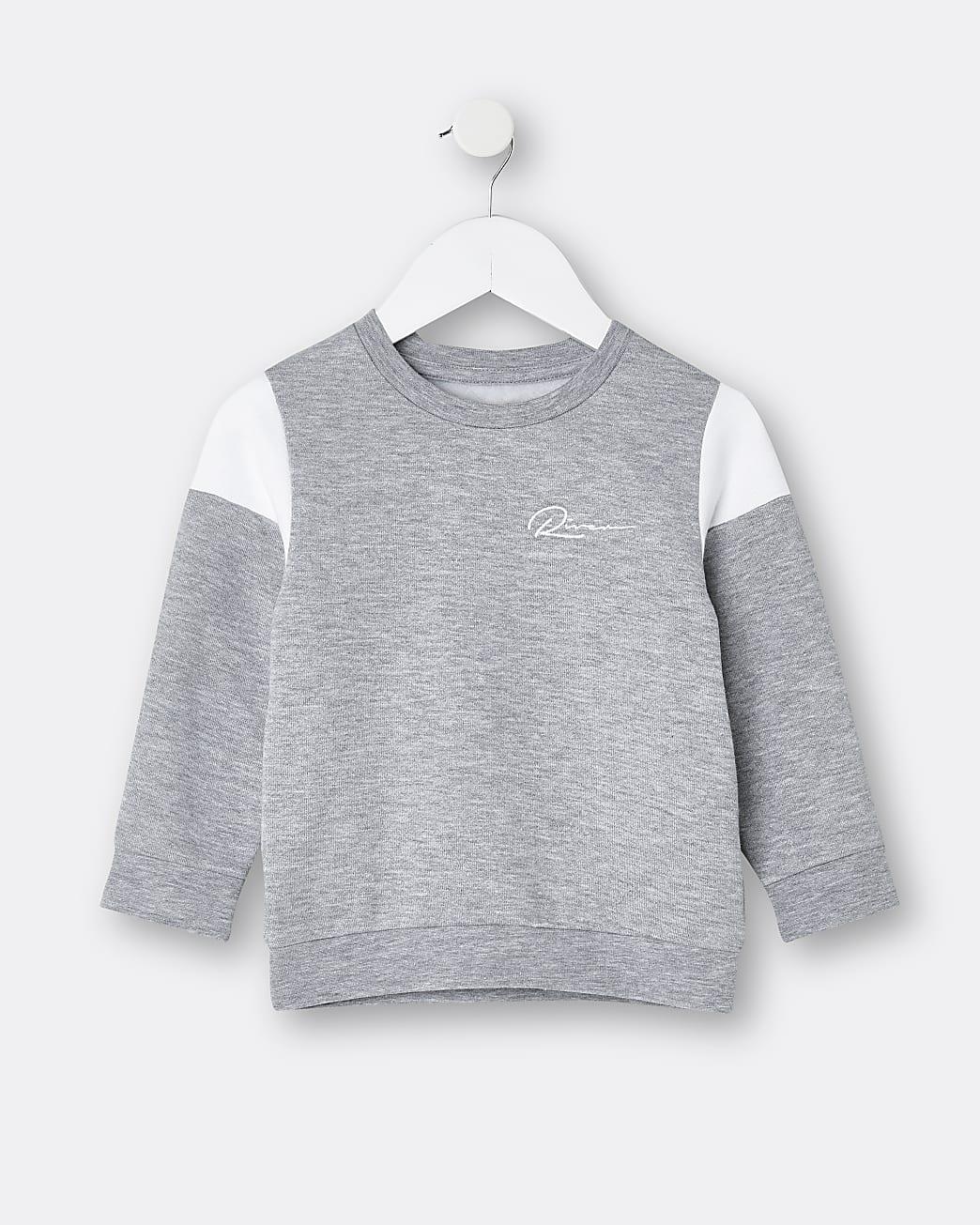 Mini boys grey RI colour block sweatshirt