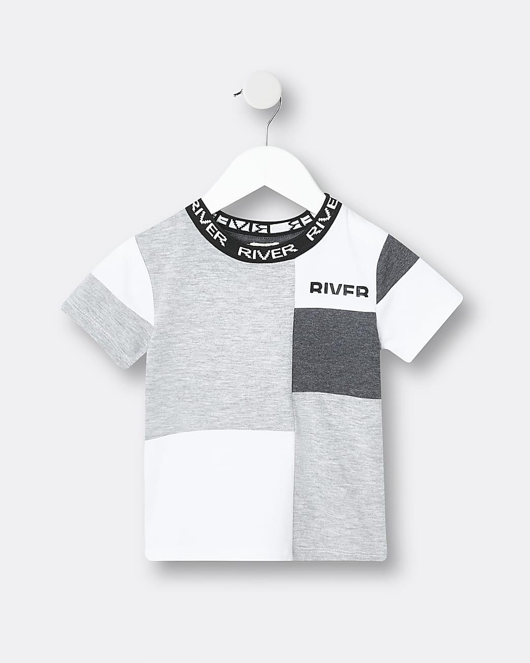 Mini boys grey RI colour block t-shirt