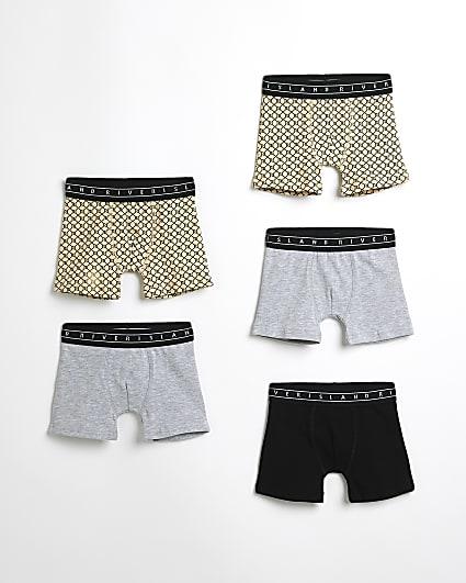 Mini boys grey RI monogram boxers 5 pack