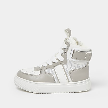 Mini boys grey RI monogram high top trainers