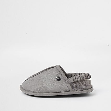 Mini boys grey RI monogram mule slippers
