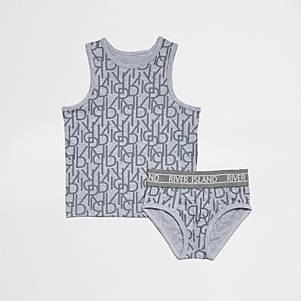 Mini boys grey RI print vest & brief set