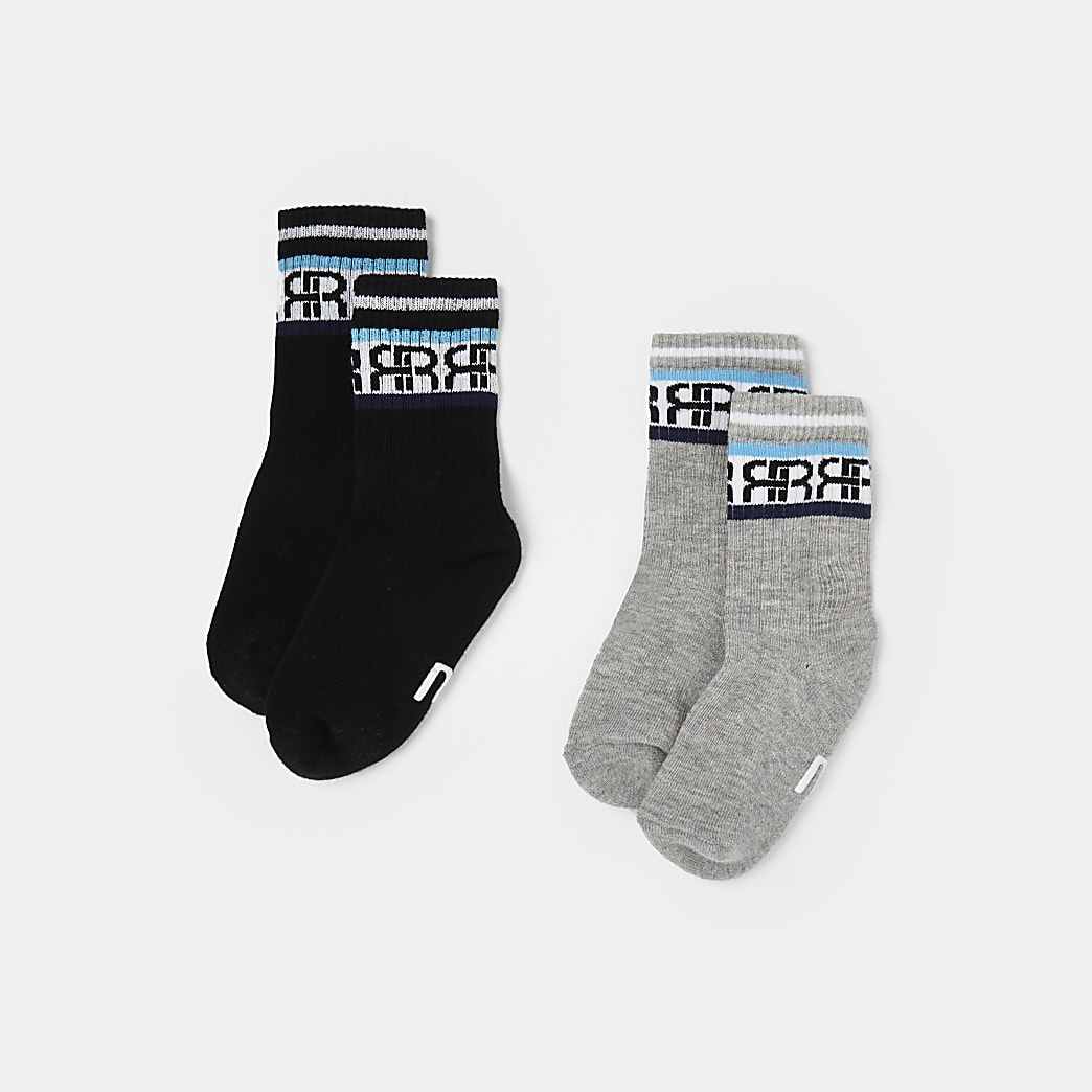 Mini boys grey RI stripe socks 2 pack