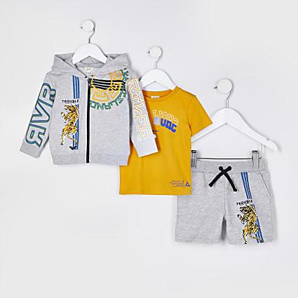 Mini boys grey RI tiger hoodie 3 piece set