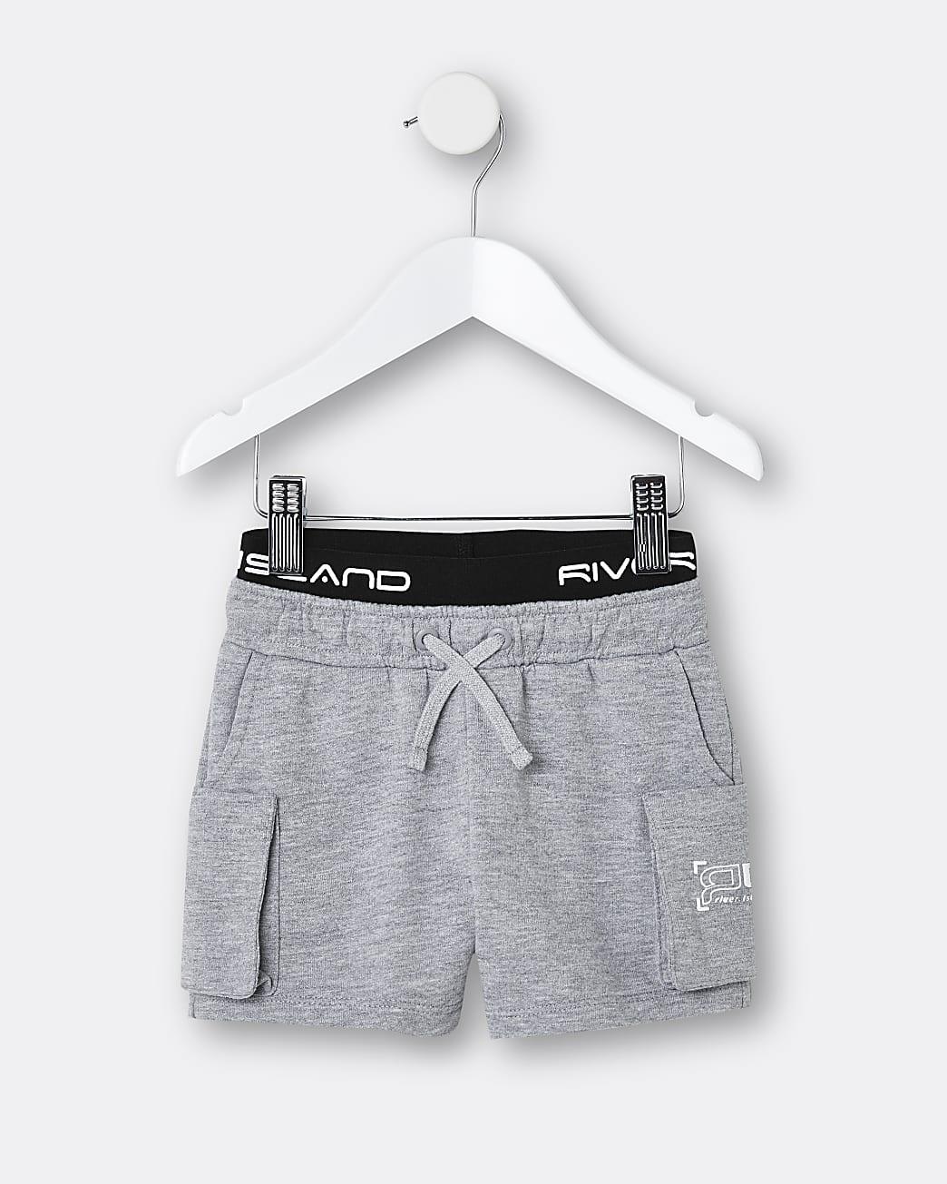 Mini boys grey RI waistband shorts