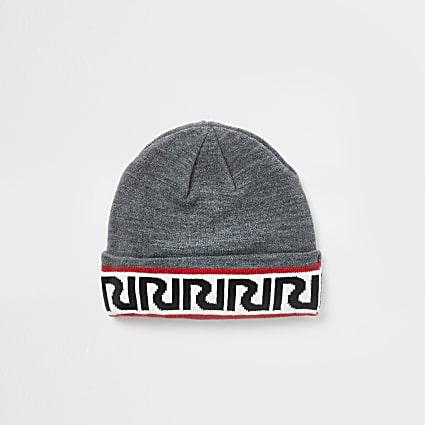 Mini boys grey RIR monogram beanie hat
