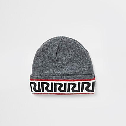 Mini boys grey RIR monogram beanie hat