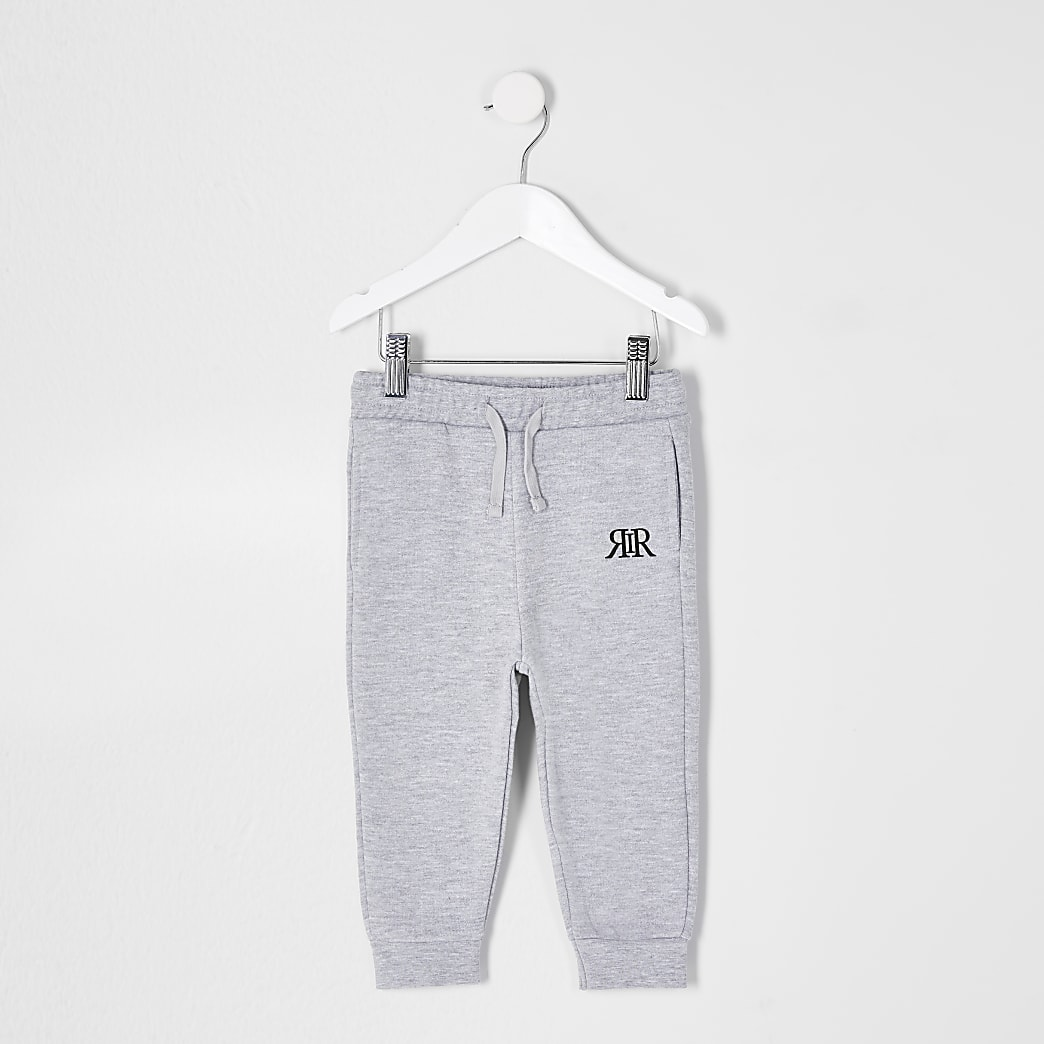 Mini boys grey RIR printed joggers