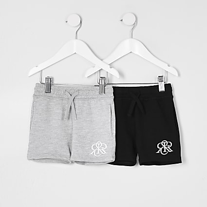 Mini boys grey RIR shorts 2 pack