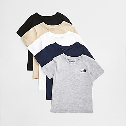 Mini boys grey RIR t-shirts 5 pack