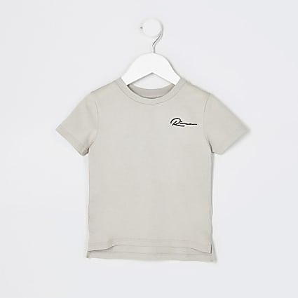 Mini boys grey 'River' curved hem t-shirt