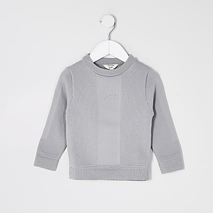 Mini boys grey 'River' jumper
