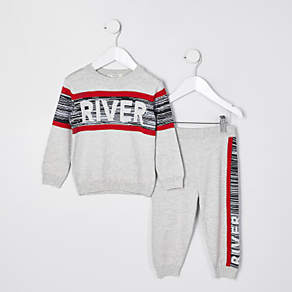 Mini boys grey river spacedye panelled set