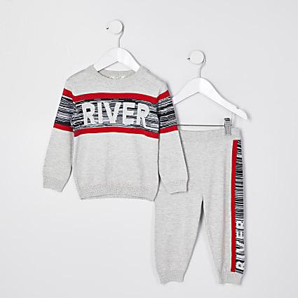 Mini boys grey river spacedye panelled set