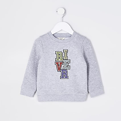 Mini boys grey river sweatshirt