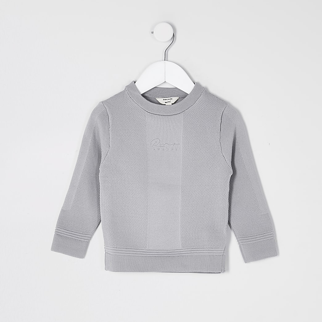 Mini boys grey 'River' textured jumper