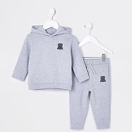 Mini boys grey RR hoodie and jogger outfit