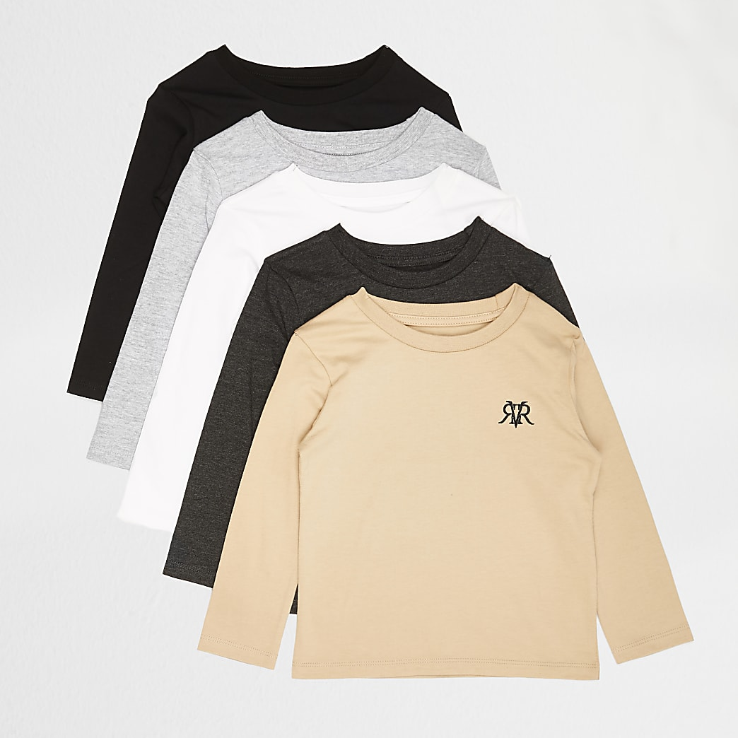 Mini boys grey RVR long sleeve t-shirts
