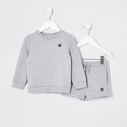 Mini boys grey RVR sweat and short set