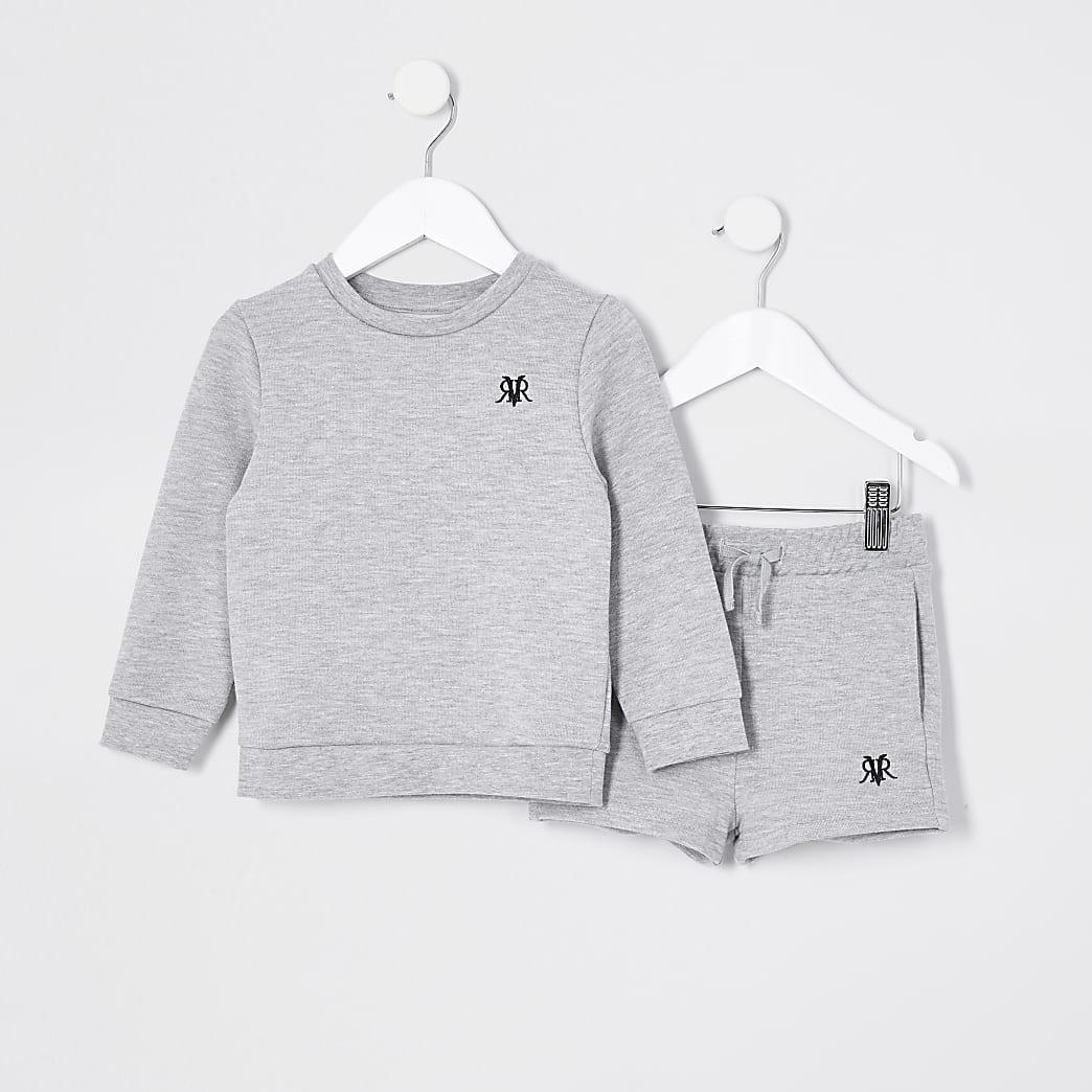 Mini boys grey RVR sweat and short set