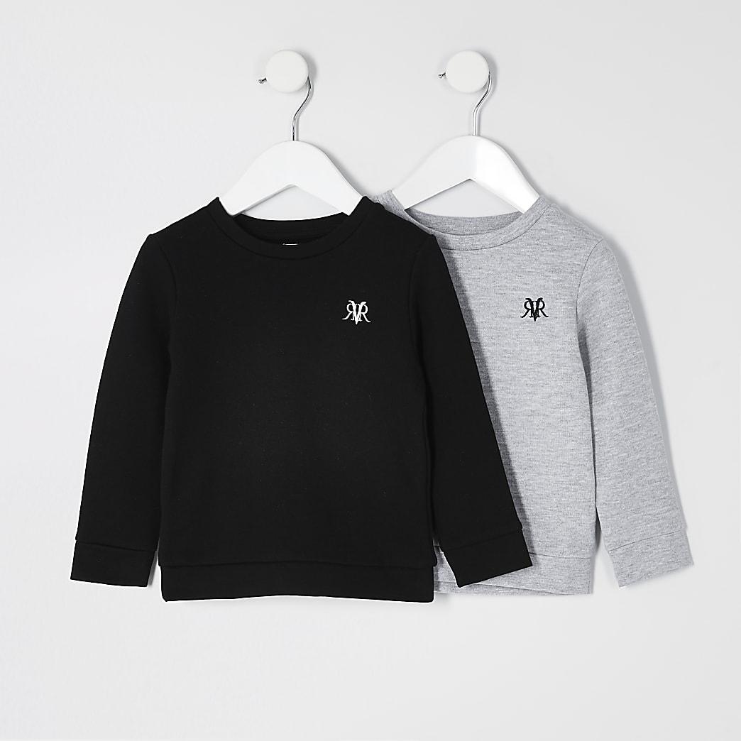 Mini - Grijs sweatshirt met RVR print voor jongens set van 2