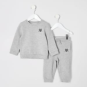 Mini – Graues Sweatshirt-Outfit mit RVR-Logo