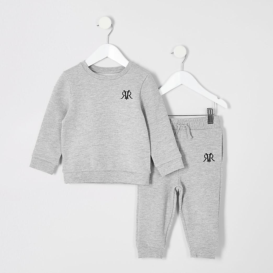 Mini - Grijze RVR sweater outfit voor jongens