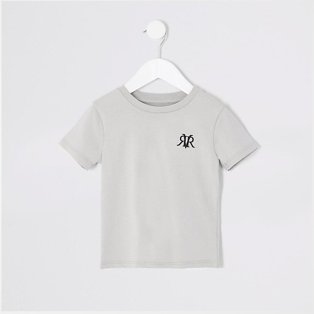 Mini - Grijs T-shirt met RVR-letters voor jongens