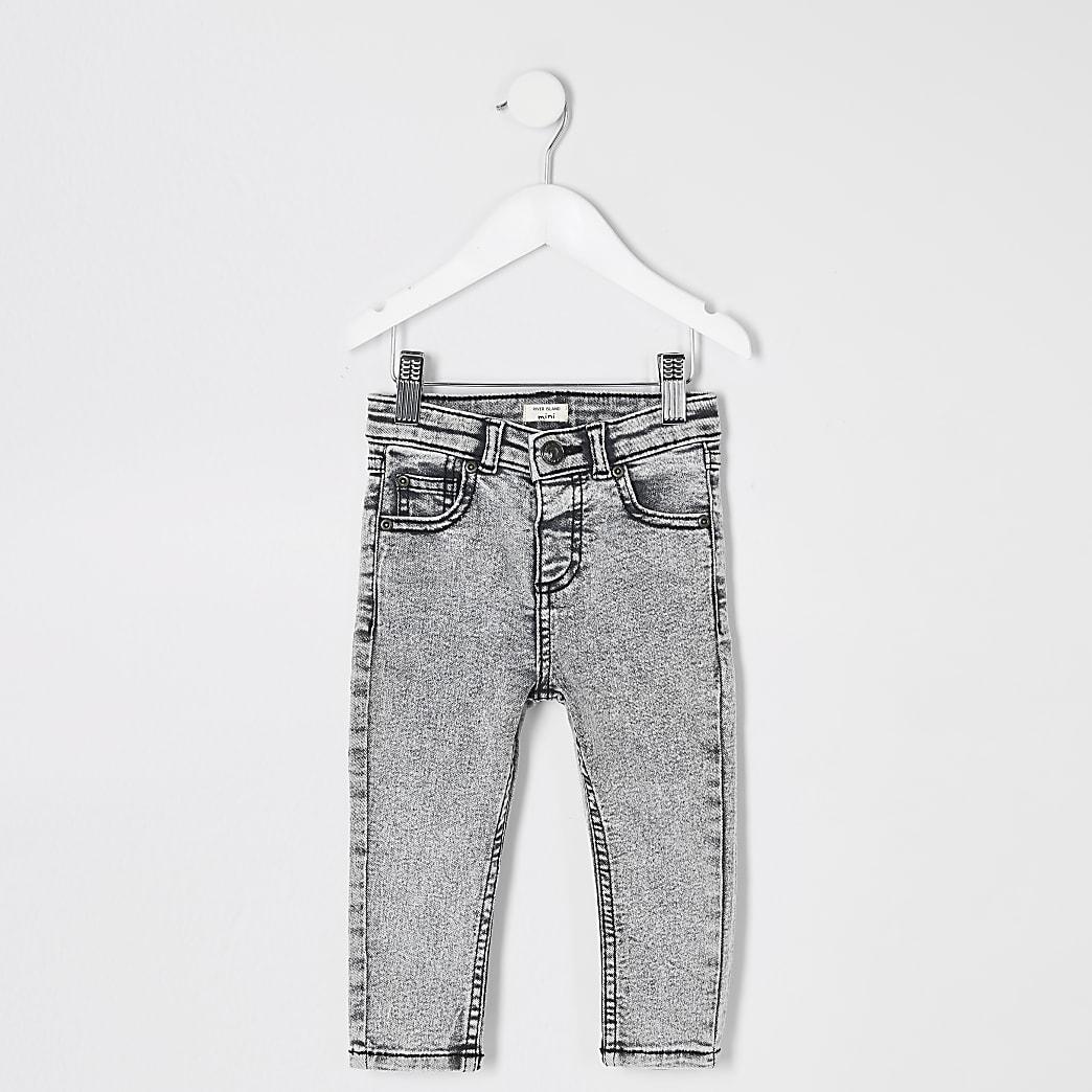 Mini - Sid - Grijze skinny acid jeans voor jongens