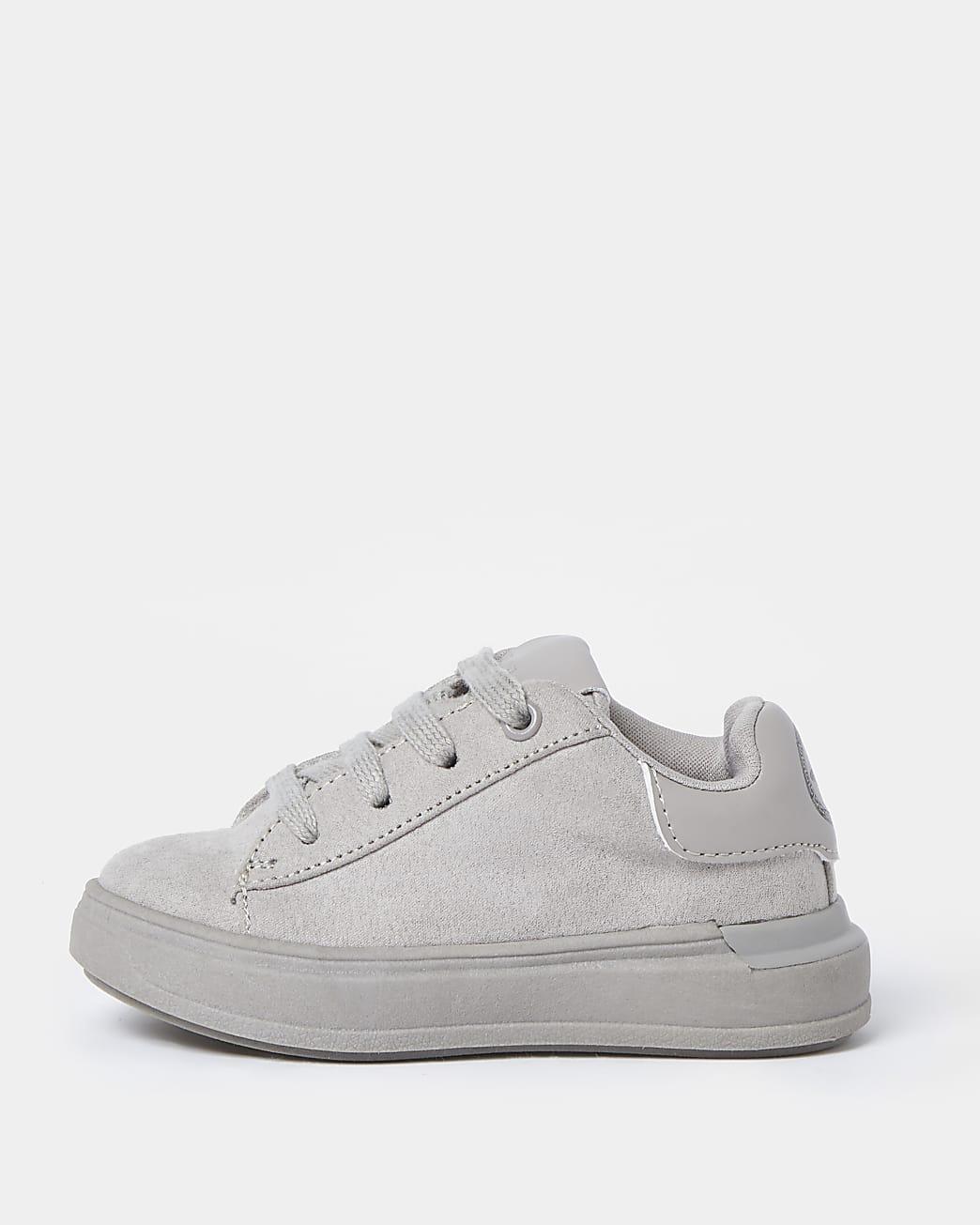 Mini boys grey suedette trainers