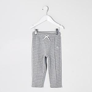 Mini boys grey textured joggers