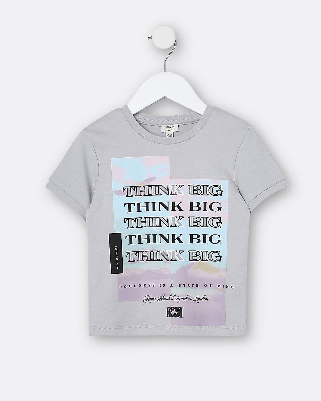 Mini boys grey 'Think Big' t-shirt