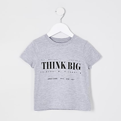 Mini boys grey 'Think Big' t-shirt