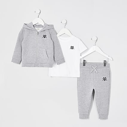 Mini boys grey three piece tracksuit