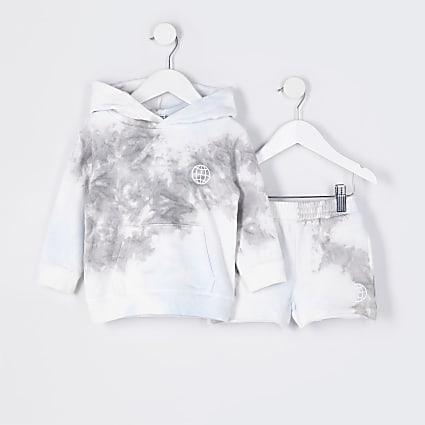 Mini boys grey tie dye hoodie outfit